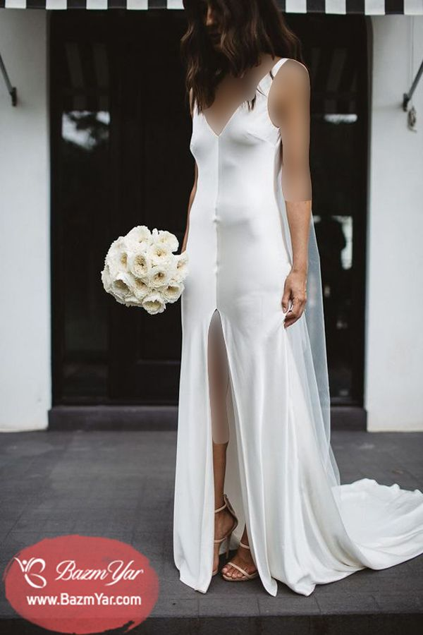60ddaec9ec1d لباس عروس با دامن راسته 2017 ساتن جلو چاک دار بهترین و زیبا ترین مدل های  لباس عروس طراحی بهترین مزون های لباس عروس و مزون…   لباس عروس   Wedding  Dress ...