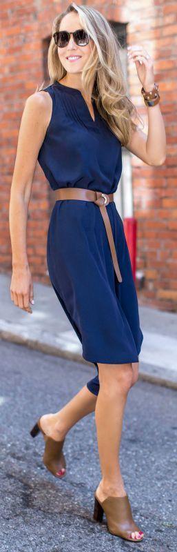 navy sleeveless midi shirtdress, nude mules, nude leather belt, sunglasses +wrap bracelets {white house black market}