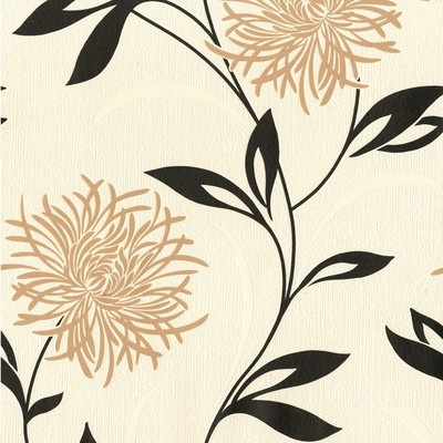 Fine decor antoinette designer feature wallpaper cream for Black and cream wallpaper