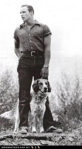 Marlon Brando with a Retriever Mix.