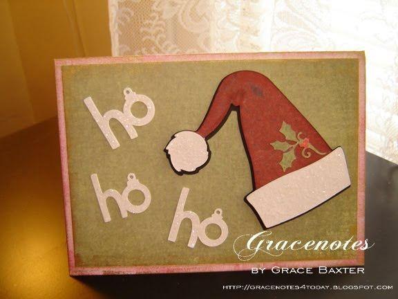 Vintage Santa Hat, Christmas card created with designer vintage cardstock. For more Christmas card ideas, visit gracenotesAllAboutChristmas.blogspot.com #VintageChristmas #ChristmasCards