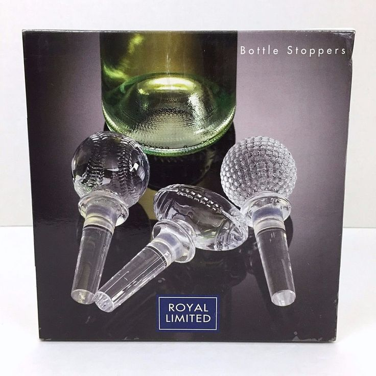 Sport Bottle Stoppers Golf Baseball Football Set of 3 Clear Royal Limited  #RoyalLimited