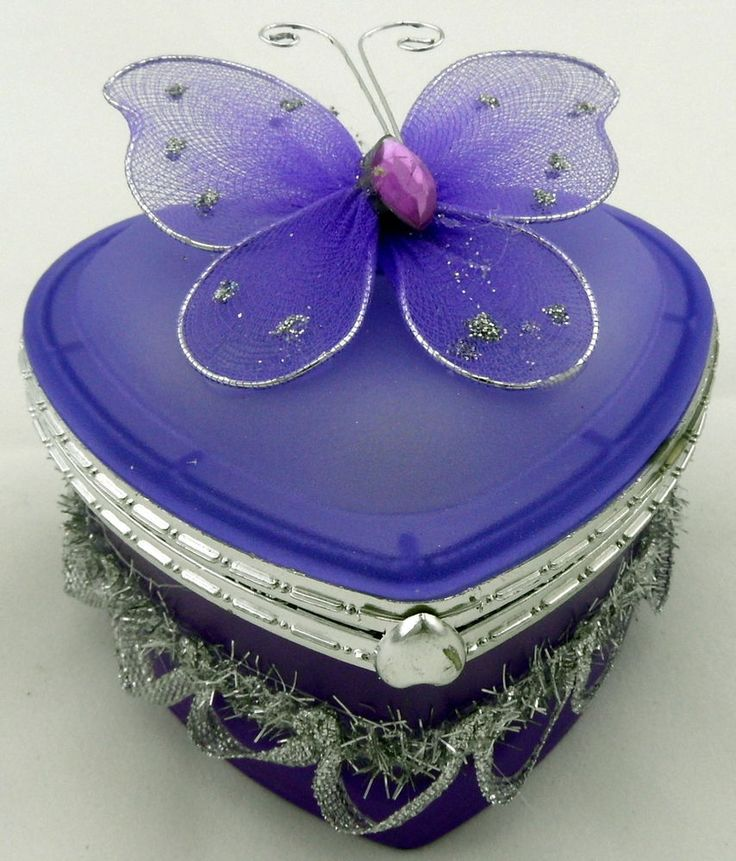 Pretty GLASS BUTTERFLY HEART SHAPE TRINKET JEWELLERY BOX - 4 COLOURS - Girl Gift #TrinketBoxesJewelleryBoxes