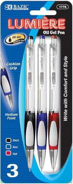 BAZIC Lumiere Asst. Color Retractable Oil-Gel Ink Pen w/ Grip (3/Pack) - 24 Units