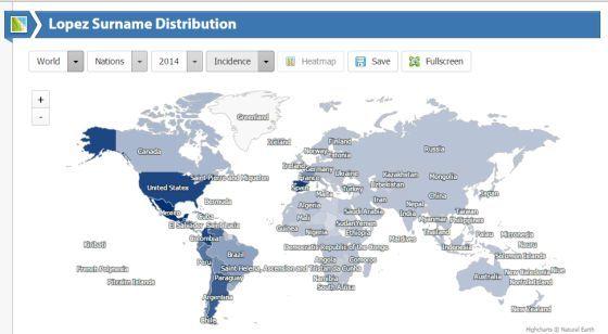 Forebear: Un portal muestra la difusión por el mundo de 11 millones de apellidos