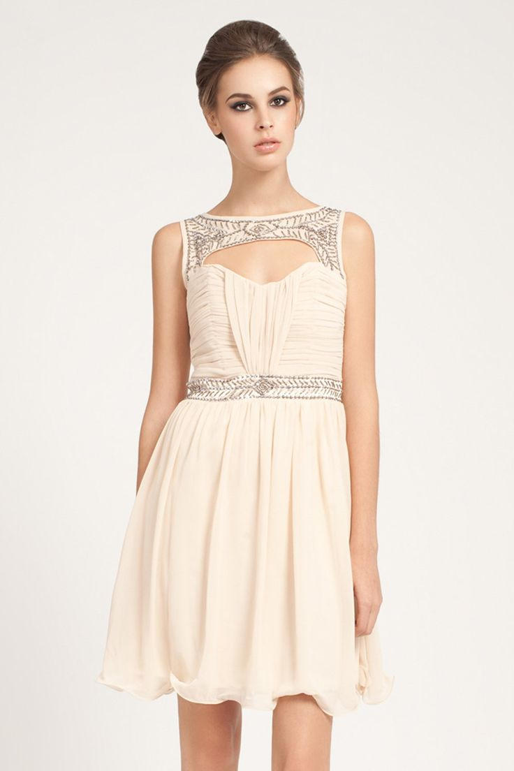 Little Mistress Nude Sweetheart Embellished Prom Dress, with button neck  fastening embellished neck and waist.