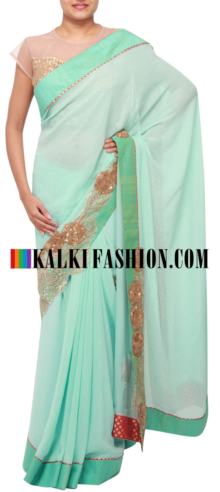Get this beautiful saree here: http://www.kalkifashion.com/pista-green-saree-adorn-in-zari-embroidery-only-on-kalki.html Free shipping worldwide.