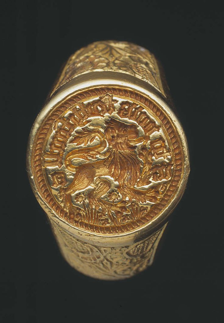 Gold signet ring found at Raglan, 15th century  (Example of similar types of signet rings that may have been used in the fictional book series 'The House of Thoth', written by LA Edwards)
