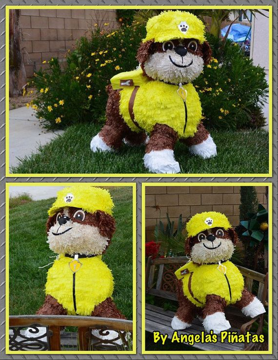 Paw Patrol Pinata Rubble Custom Hand Made by angelaspinatas