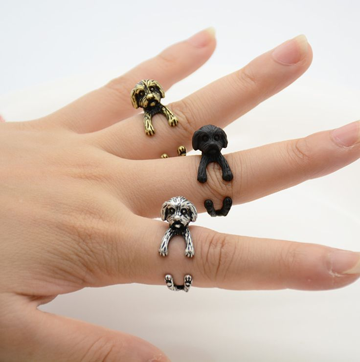 Punk New Vintage Brass Knuckle 3D Shih Tzu Puppy Ring Boho Dogs Anillos Love Rings For Bague Femme Anel Pink Men Jewelry