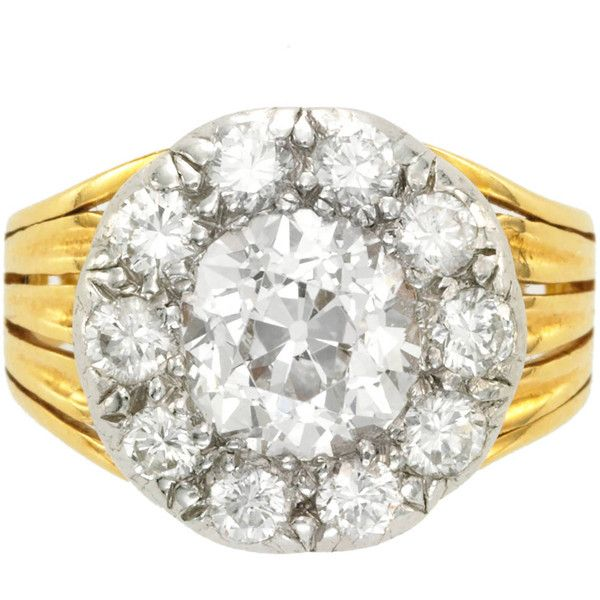 Preowned Antique Diamond Silver Gold Cluster Engagement Ring ($14,200) ❤ liked on Polyvore featuring jewelry, rings, multiple, antique gold rings, diamond rings, pre owned engagement rings, diamond engagement rings and silver rings