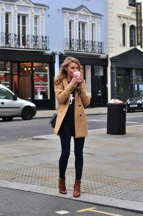 Black Skinny Jeans / Black Tee / Tan Boots / Camel Coat