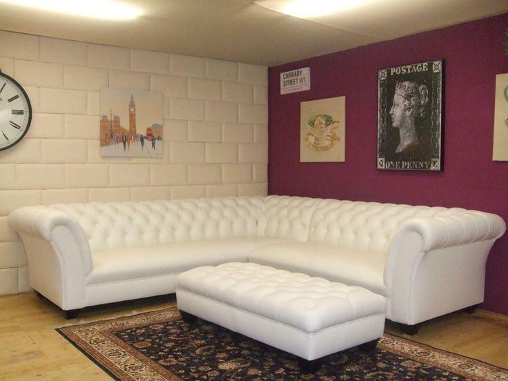 Chesterfield ecksofa  Chesterfield Ecksofa in elegantem weißen Leder. www.kippax-sofas ...