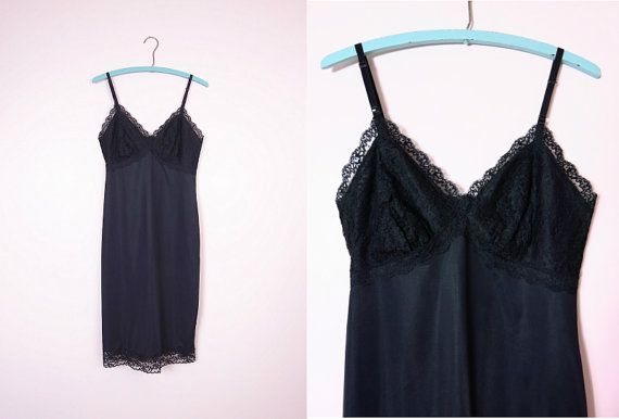 1960s Rogers Black Nylon & Lace Full Slip S by IsabellasVintage