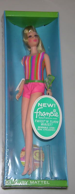 1967 TWIST N TURN FRANCIE NRFB: fabulous example of a mint doll never removed from the box, original cello with front oval label, doll, box and contents mint. Beautiful high color on this perfect doll. $550