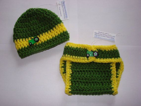 Deere Infant Hat Crochet Pattern : Baby boy John Deere diaper cover hat set crochet yellow ...