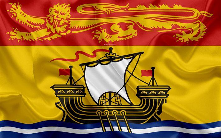 Download wallpapers Flag of New Brunswick, Canada, 4k, province, New Brunswick, silk flag, Canadian symbols
