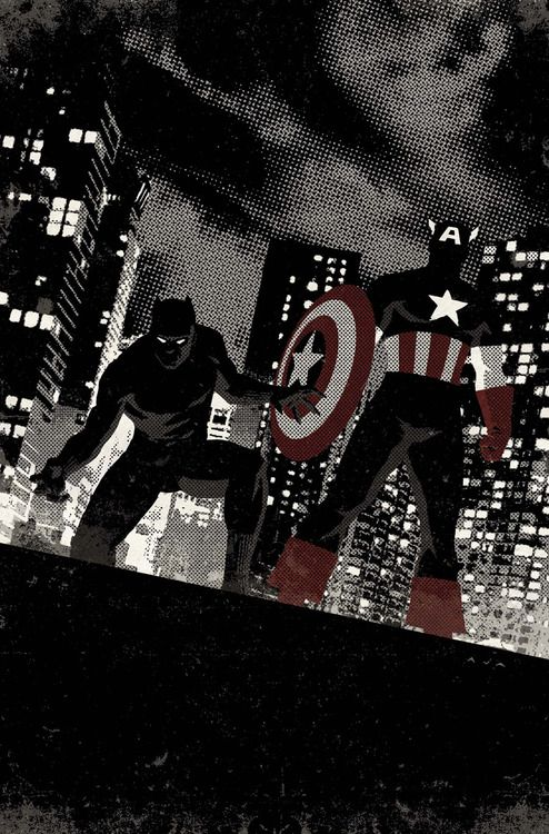 Black Panther & Captain America by David Aja