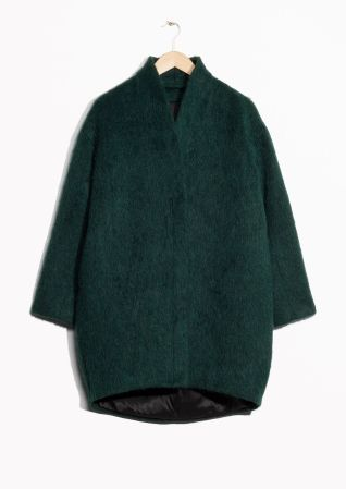 Wool-Blend Coat - I want this cozy dark green cocoon wool coat so bad!