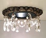 "Victorian recessed light trim embellished with 1-1/2"" clear tear drop crystals."