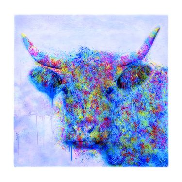 "Saatchi Online Artist Liz Ravn; Printmaking, ""The Cow that Stood Between the Canvas and Me - Limited Edition #9 of 50 "" #art"