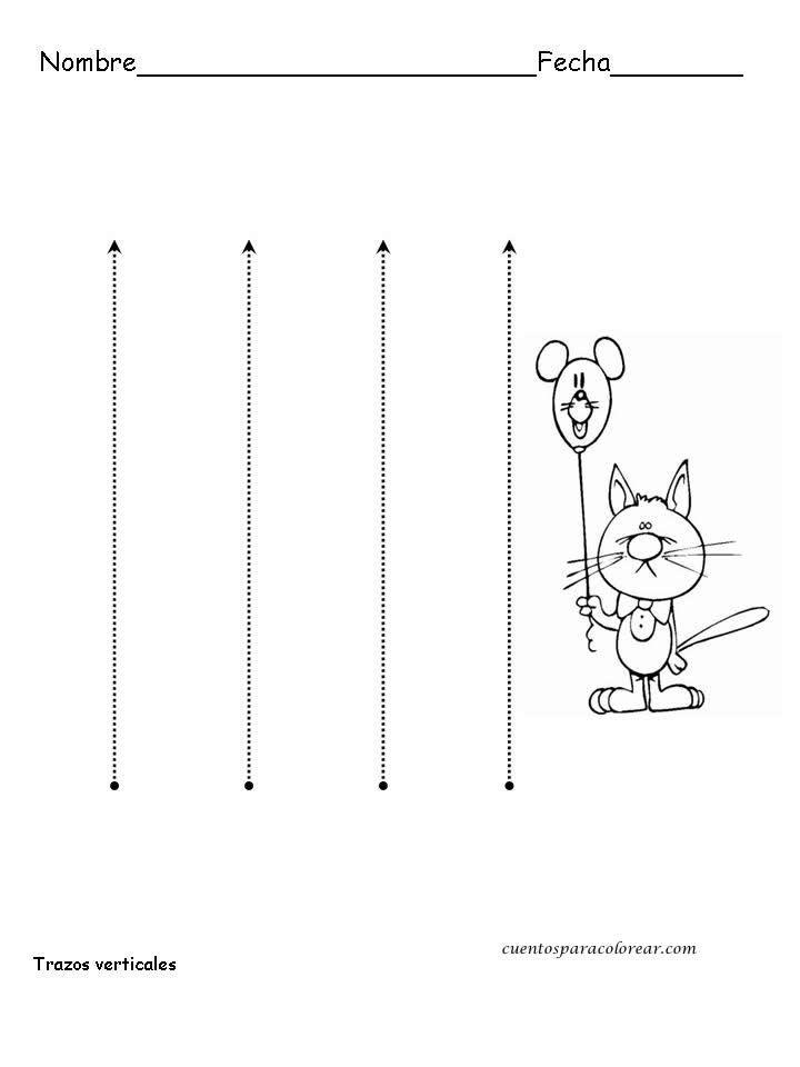 Actividades de Grafomotricidad.: Fichas: trazos horizontales, trazos verticales, trazos diagonales, trazos circulares.