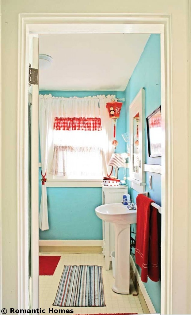 Turquoise And Red houses | Budget Makeover: Turquoise and Red Bathroom - :