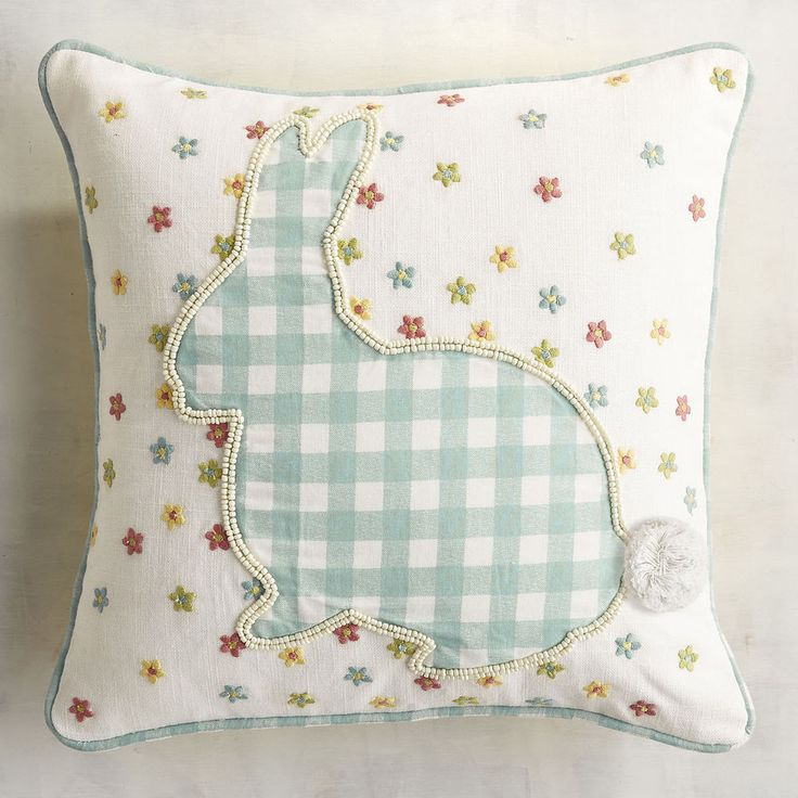 Pier 1 Throw Pillow Bunny Gingham Spring