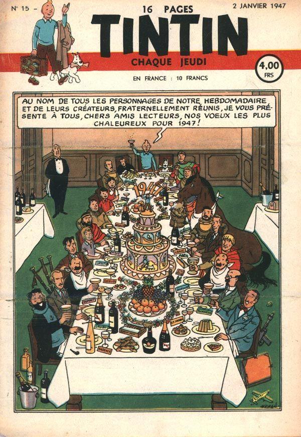 Journal de TINTIN édition Belge N° 1 du 2 Janvier 1947 Bonne année 1947