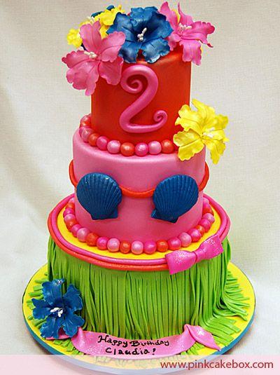 Luau Birthday Cake by Pink Cake Box in Denville, NJ.  More photos and videos at http://blog.pinkcakebox.com/luau-birthday-cake-2008-11-23.htm