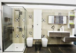 Mobile da bagno rovere con lavabo, pensili e specchio [Archeda]