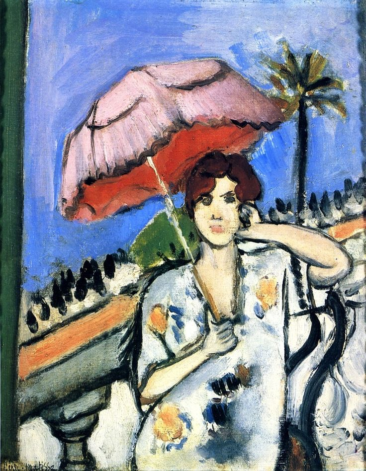 Woman on a Balcony with a Pink Umbrella, Face on, Half Figure / Henri Matisse - 1919
