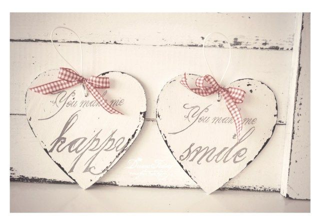 """""""You make me happy"""" & """"You make me smile"""" – in love hearts, a perfect Christmas present for you and your loved one - Dreaming of a Shabby White Handmade Christmas ♦ Visand la un Craciun Handmade Shabby alb - Dreams Factory"""