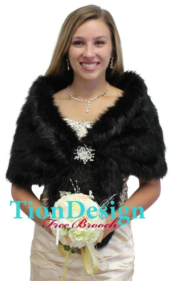 Black faux fur wrap and stole Faux fur Black wrap Bridal
