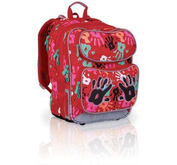 Niebanalny plecak dla dziewczynki od 1 do 3 klasy. Plecak ozdabia oryginalny wzór odcisków dłoni.