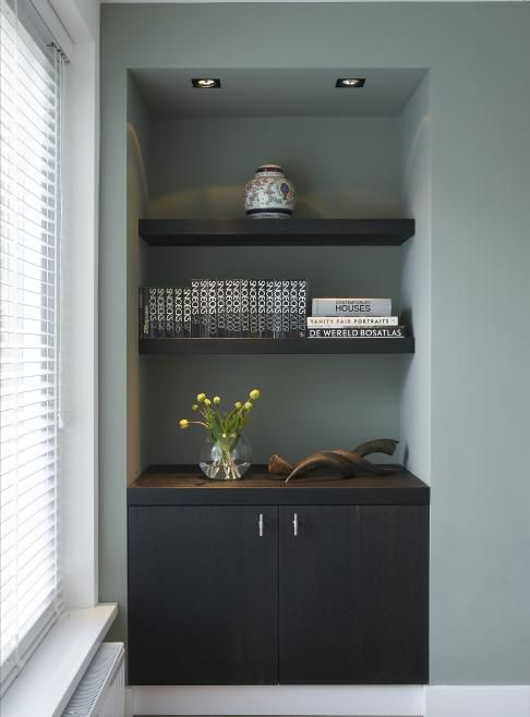 Floating shelves & dark joinery