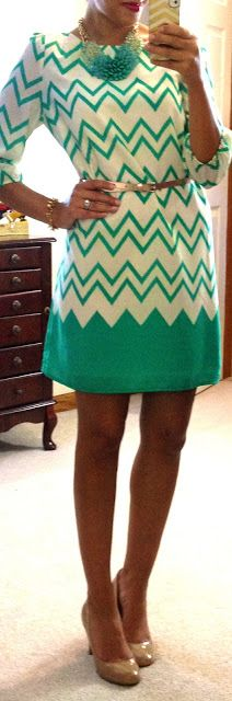 Love this teal chevron dress, would be perfect for a casual spring day or date night!