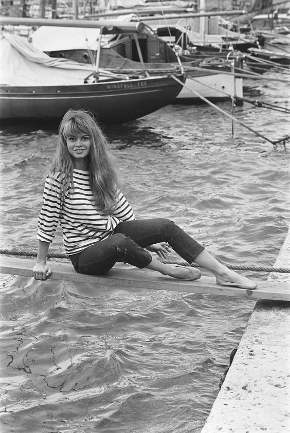 easy does it. bardot here in classic and comfy breton stripes.