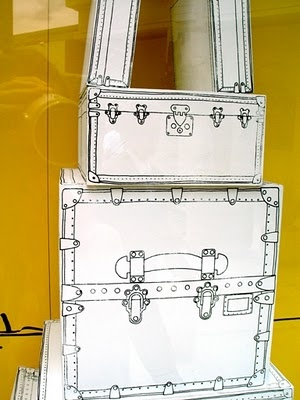 Shoe boxes - painted white - then doodled on to look like vintage suitcases