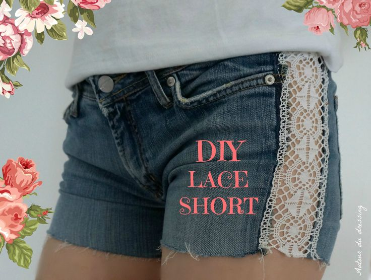 diy lace short, customise short jeans 3bis,