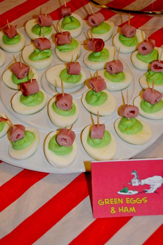 Green eggs and ham deviled eggs- Ok,  the kids may or may not eat them, but they'd sure be fun!