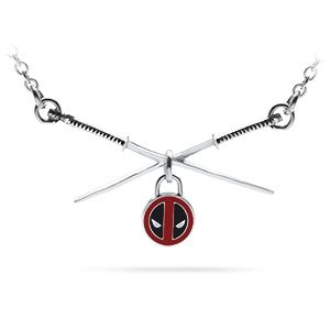 This necklace features Deadpool's katanas, crossed, with a little charm with his logo hanging from the middle. We'd say it's adorable, but he'd probably come hurt us.