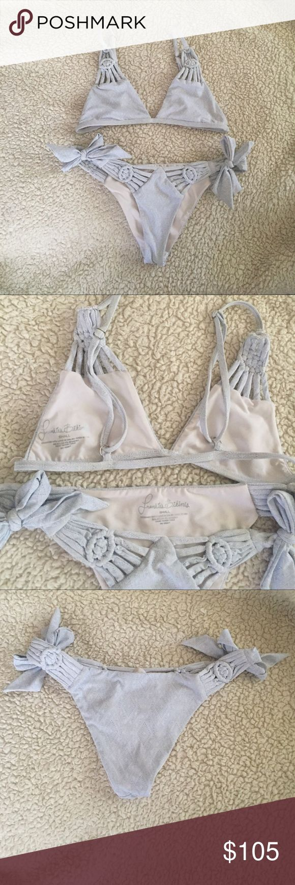 Frankies Bikinis Chambray Bella Top Size Small. St Tropez Bottoms Size Small. Reselling from user who used it once and i just dont like the way it fits on me. Like New, i only tried it on. Tags: Acacia Mikoh Mykonos Sahara Ray Swim Bettinis Planet Blue Frankie's Bikinis Swim Bikinis