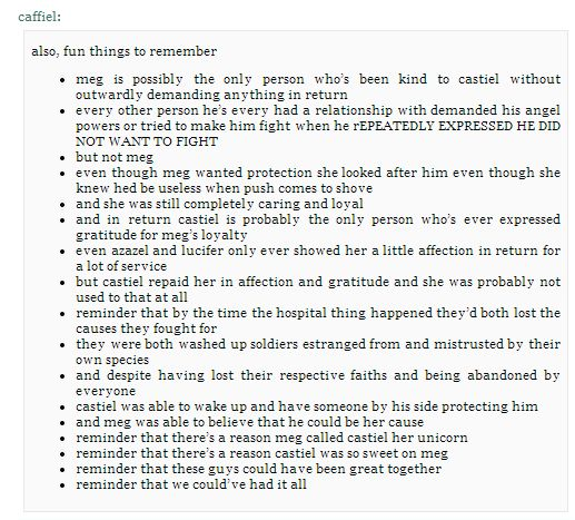 Reminders about Meg and Cas --- *sob* Because it didn't hurt enough.....