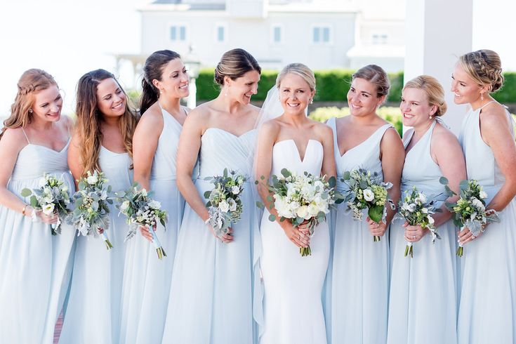 Bridesmaids in soft blue from Cape Cod Wedding at Wychmere Beach Club - Classic Bride Blog #beachwedding #wychmerebeachclub #capecodweddings #capecodwedding