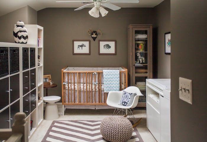 couleur peinture chambre taupe foncé pour bébé marron – Face ...