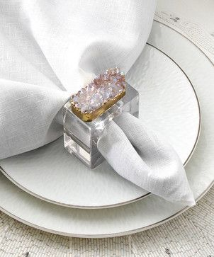Rock Crystal Napkin Ring - Set of 4 transitional napkin rings