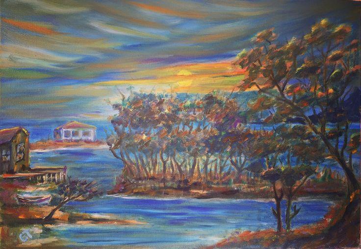 Kısık, 35x50, oil&canvas, #gurseltokmakoglu #artist #artworks #sanat #art #paint #tablo #yağlıboya #oiloncanvas #oiloncanvas #paintings  #finearts #original #oilpaintings #paintworks #landscape #plain #seascape #sea #trees
