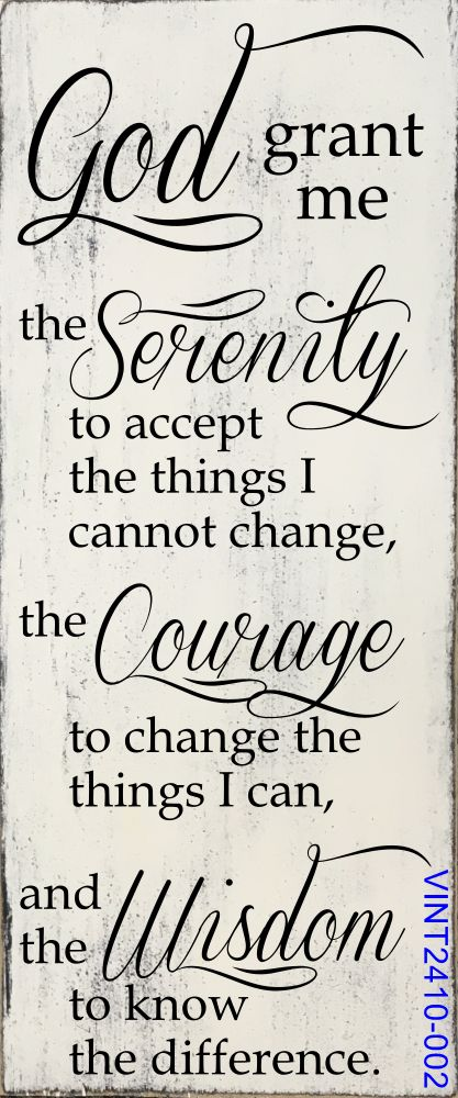 Serenity Prayer Vintage Rustic Painted Wood Sign (Step Quotes Positivity)