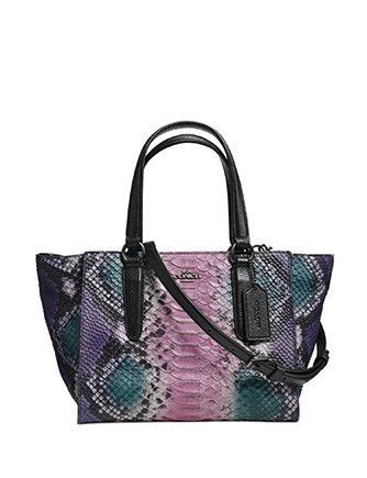 Coach Crosby Mini Carryall In Python Embossed Leather